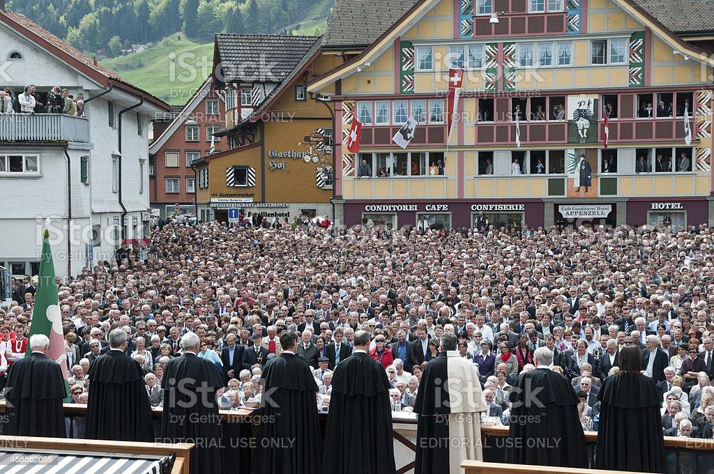 governance of Appenzell during public election called Landsgemeinde stock photo