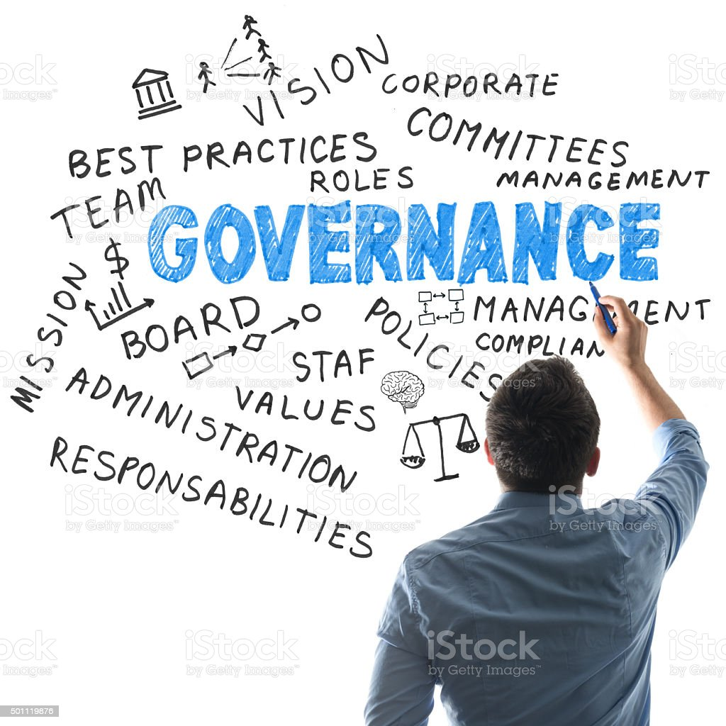 governance related word cloud on whiteboard stock photo