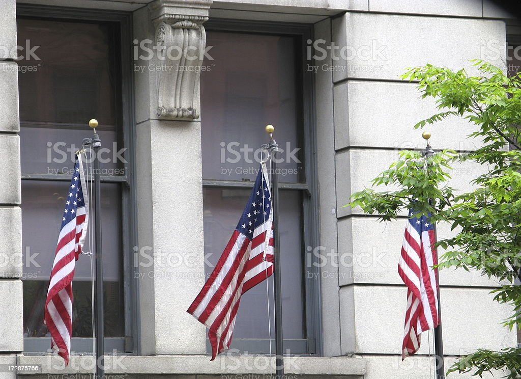 Government Building American Flags City Hall stock photo