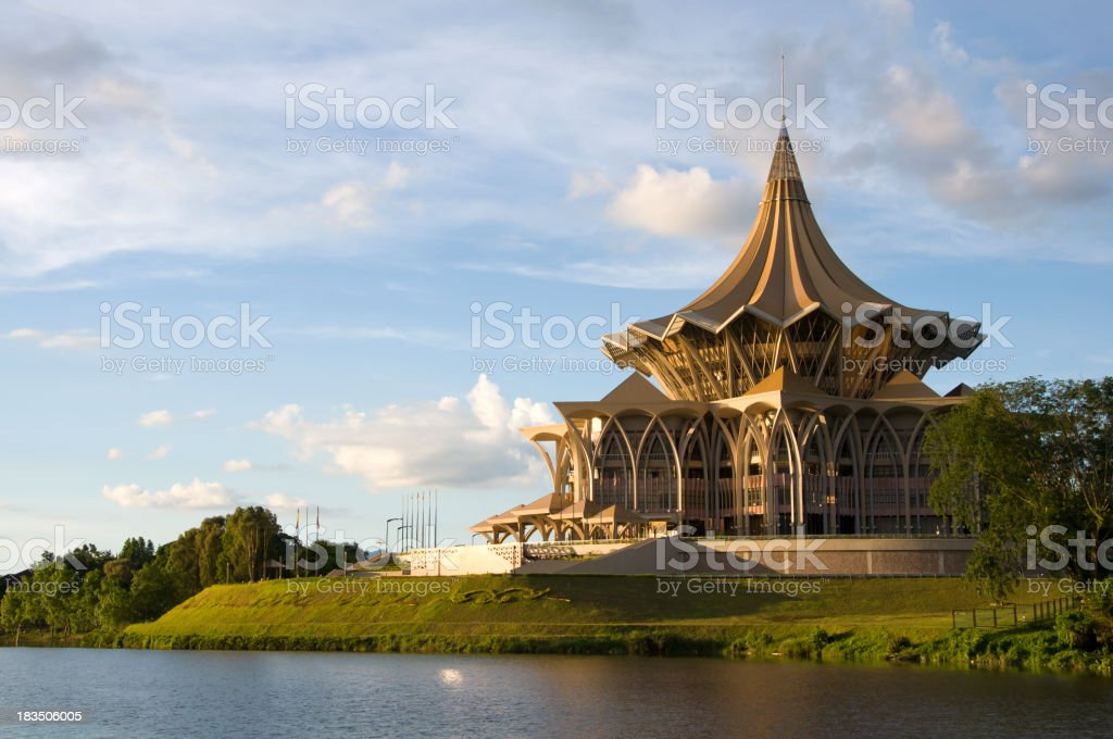 Government building at sunset in Kuching stock photo