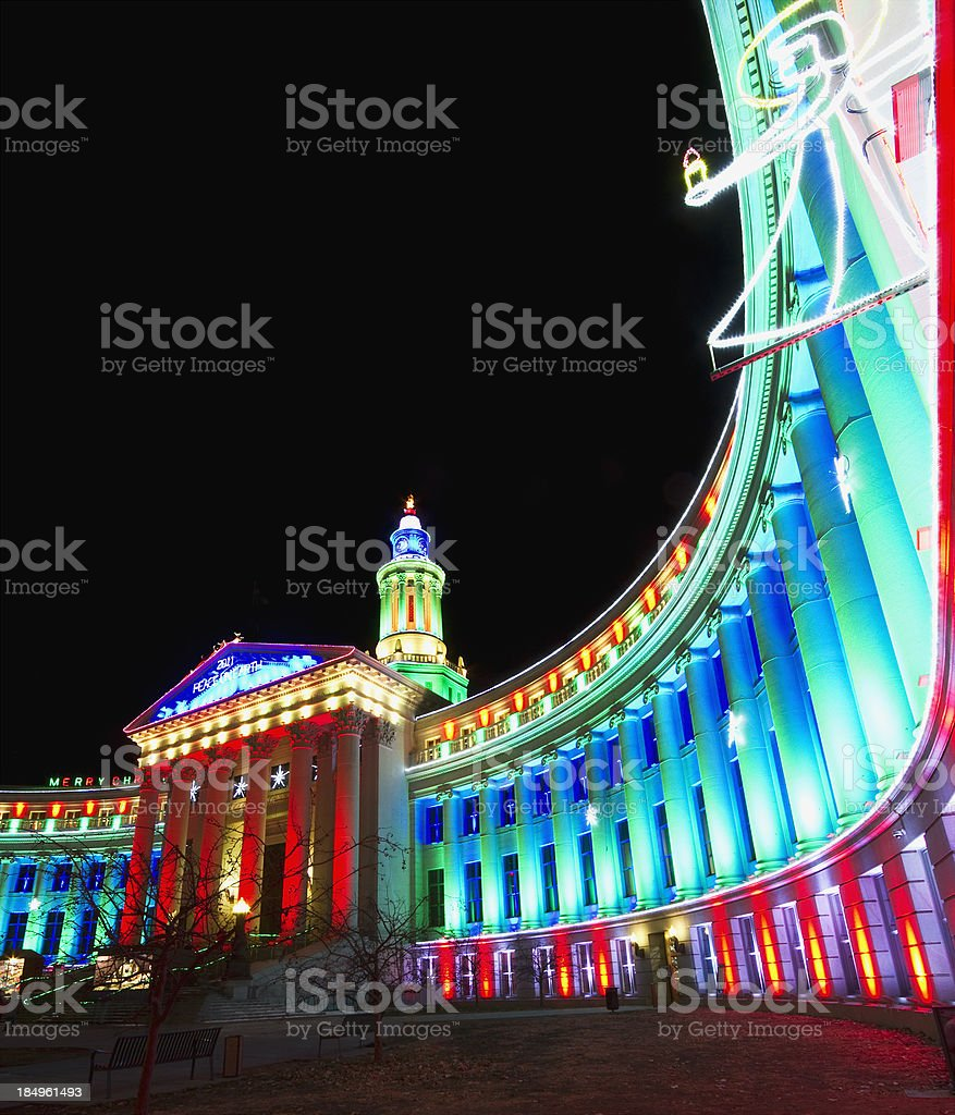 Government Building Holiday Decorations stock photo