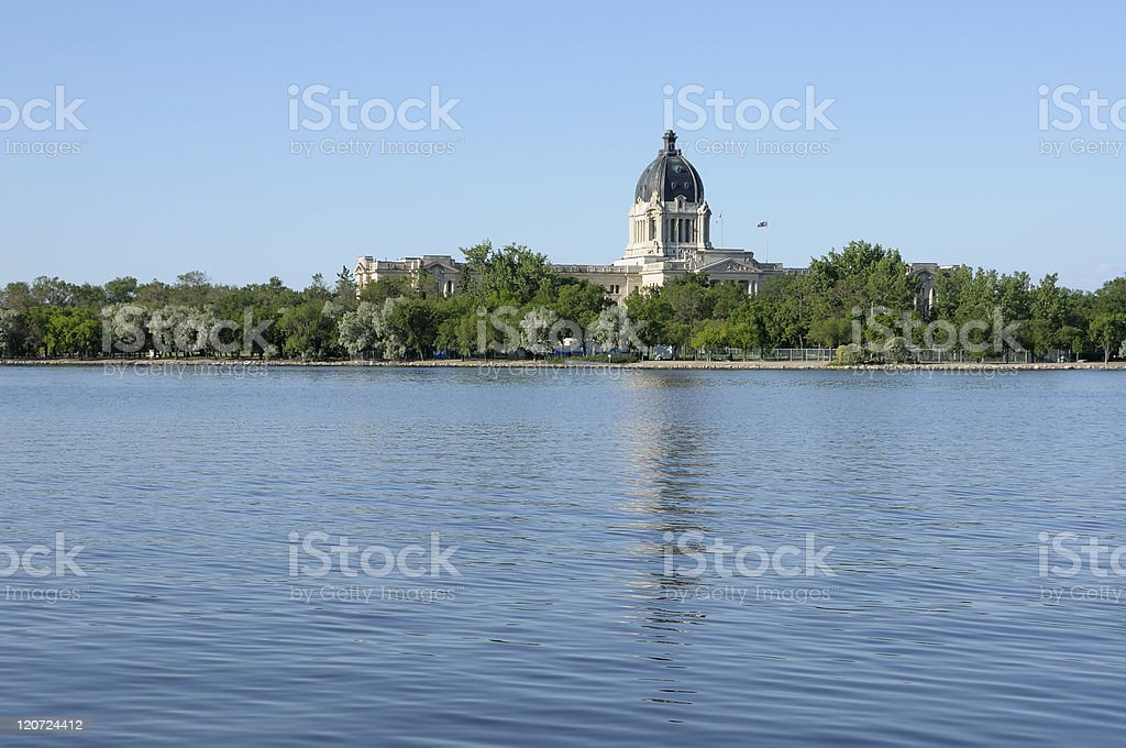 Government building reflected in a lake.Regina stock photo