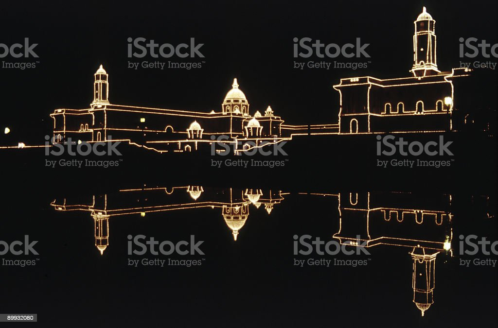 Government Buildings at night, New Delhi royalty-free stock photo