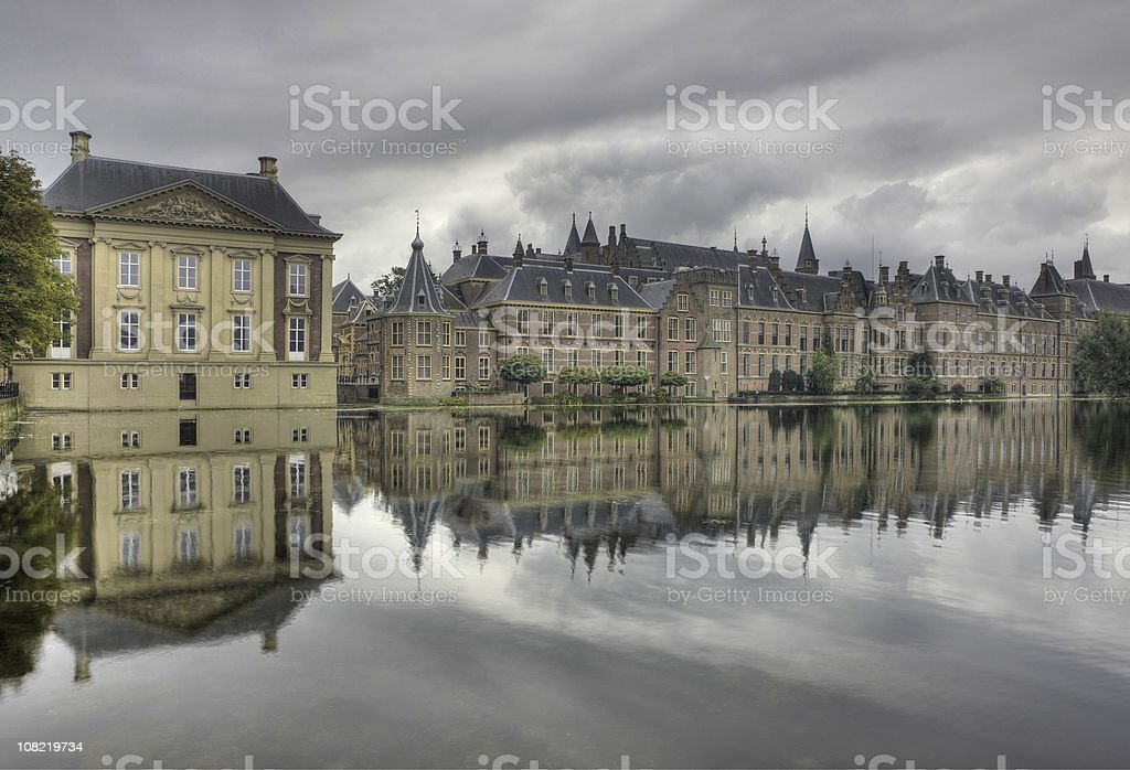 Government Buildings Reflected Along River royalty-free stock photo