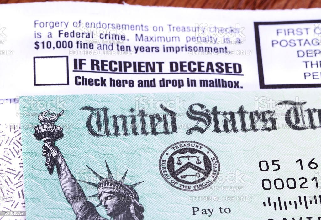 Government check received in mail stock photo
