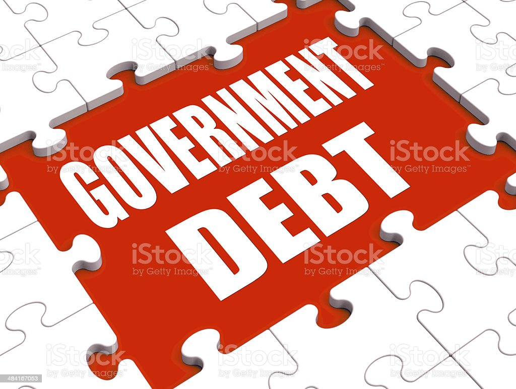 Government Debt Puzzle Shows Nation Penniless And Bankrupt stock photo