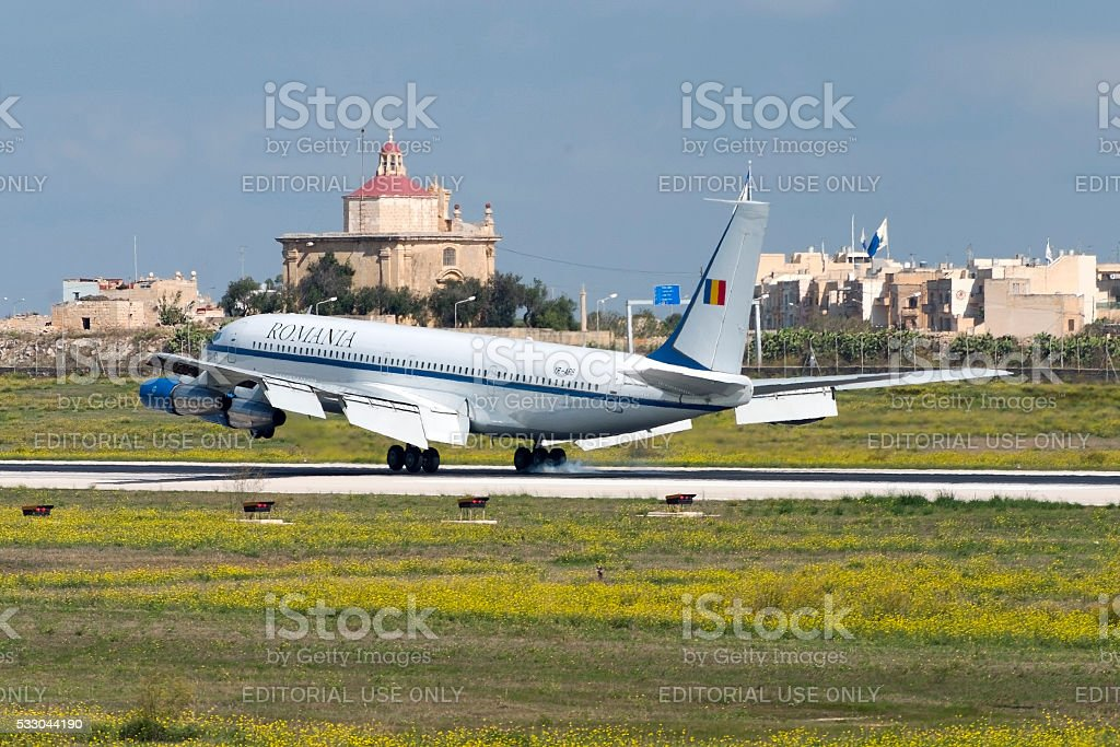 Government flight from Romania on official visit stock photo