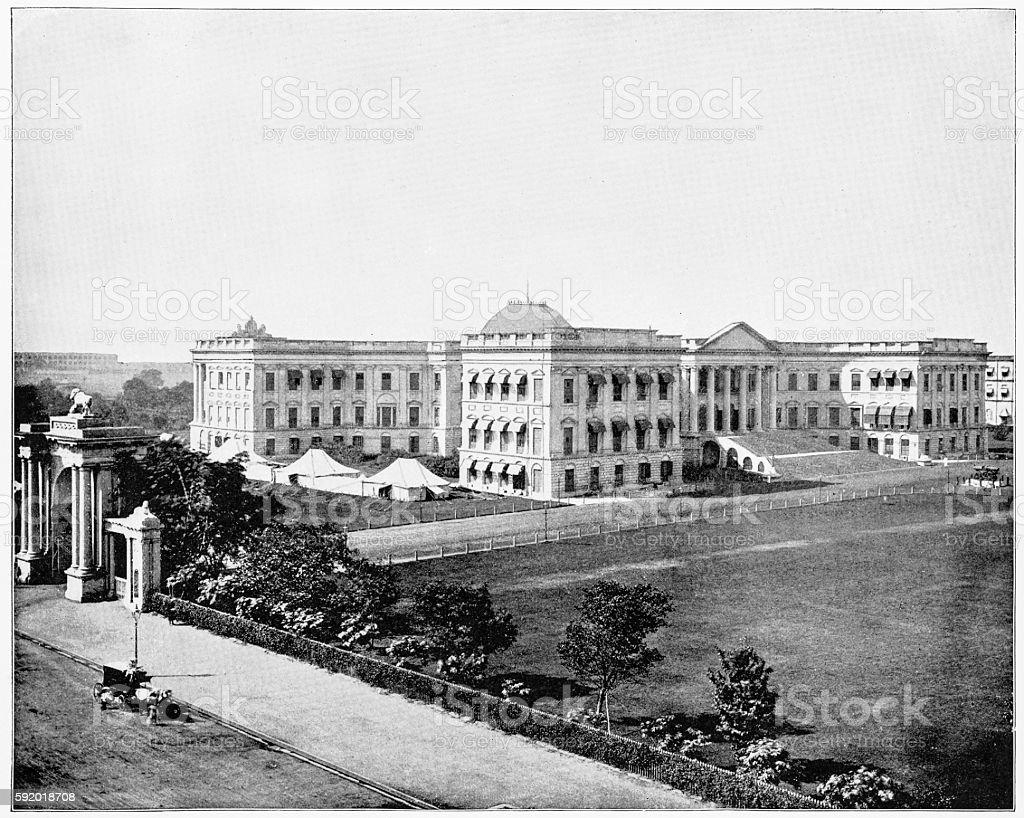 Government House, Calcutta, India in 1880s stock photo