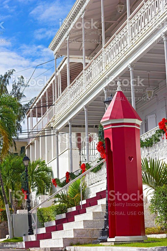 Government house on St Thomas Island during Christmas season. stock photo
