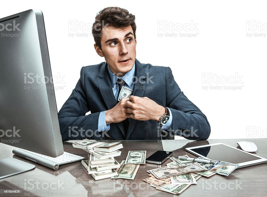 Government official stealing money from taxpayers stock photo