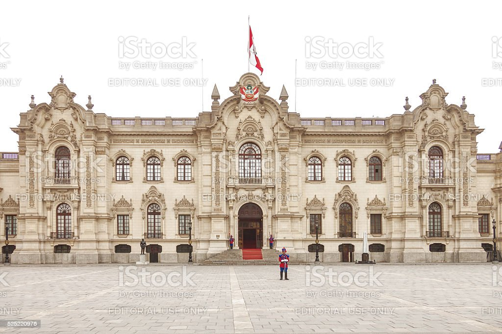 Government palace in Lima with guards stock photo