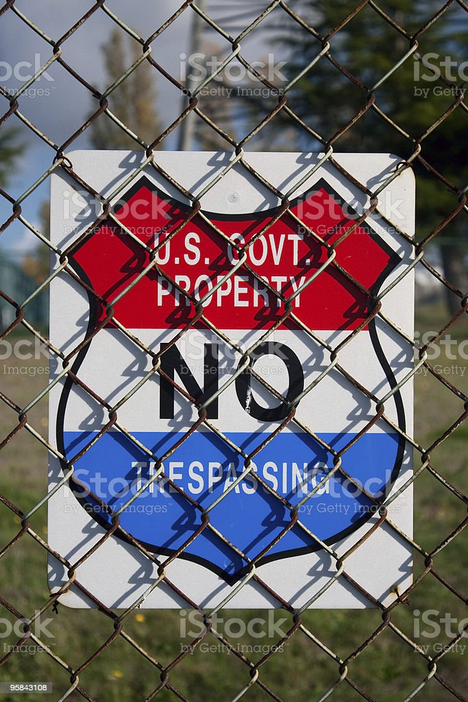 US Government Property No Trespassing Sign stock photo