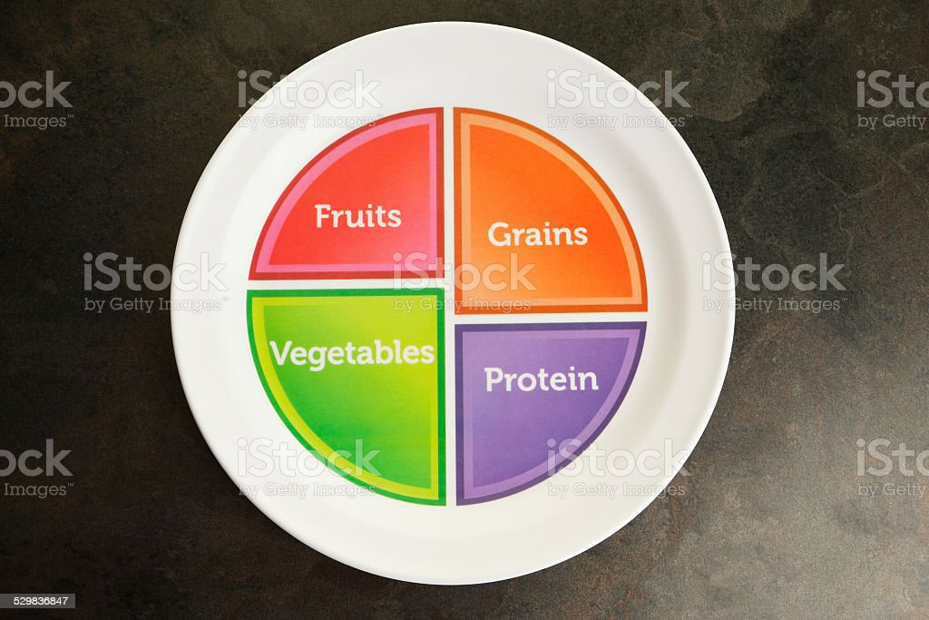 US Government Recommended Food Portion Plate stock photo
