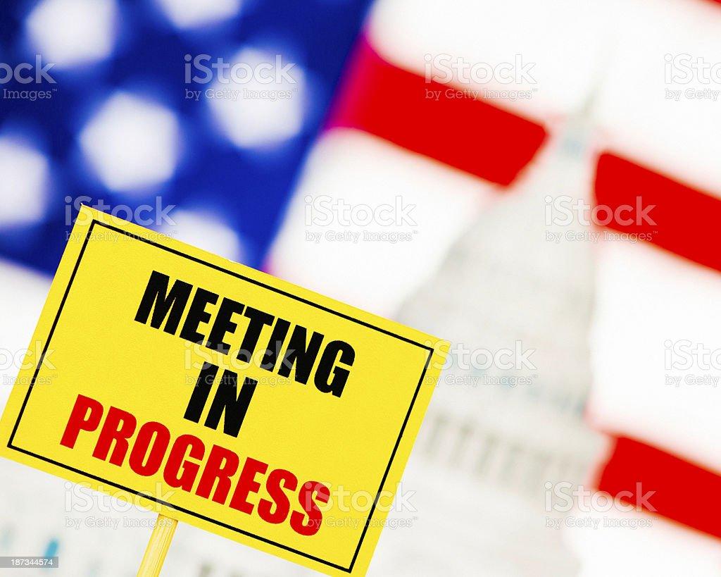 US Government Shutdown: Meeting in Progress royalty-free stock photo