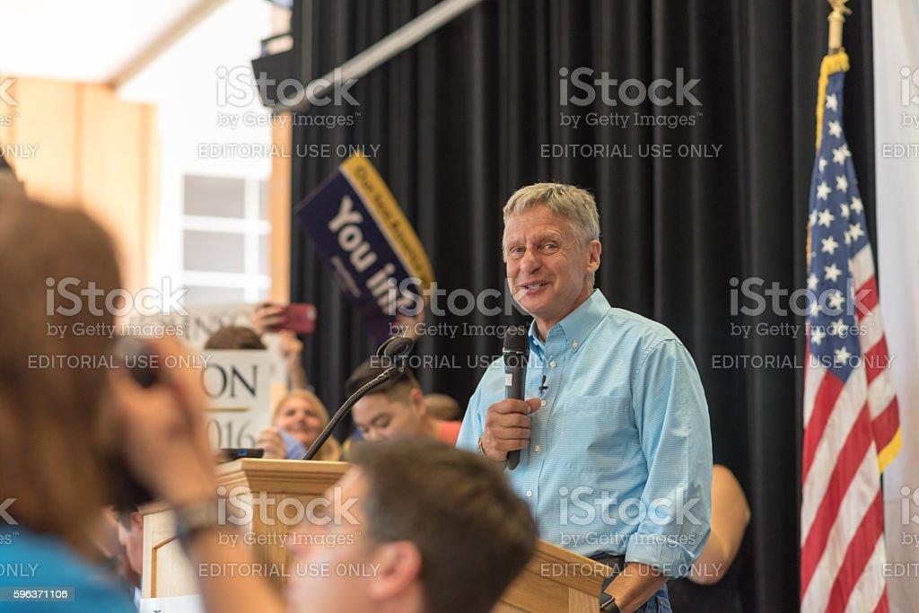 Governor Gary Johnson stock photo