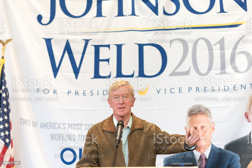 Governor William Weld addresses rally stock photo