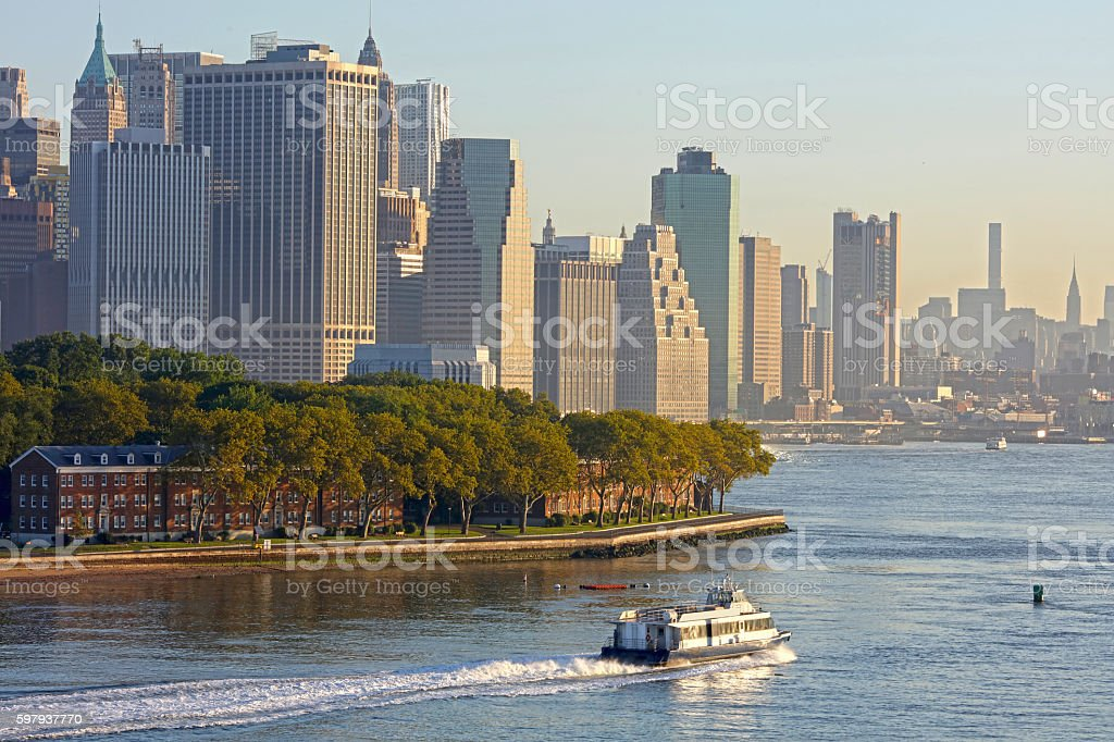 Governor's Island and Manhattan Skyline stock photo
