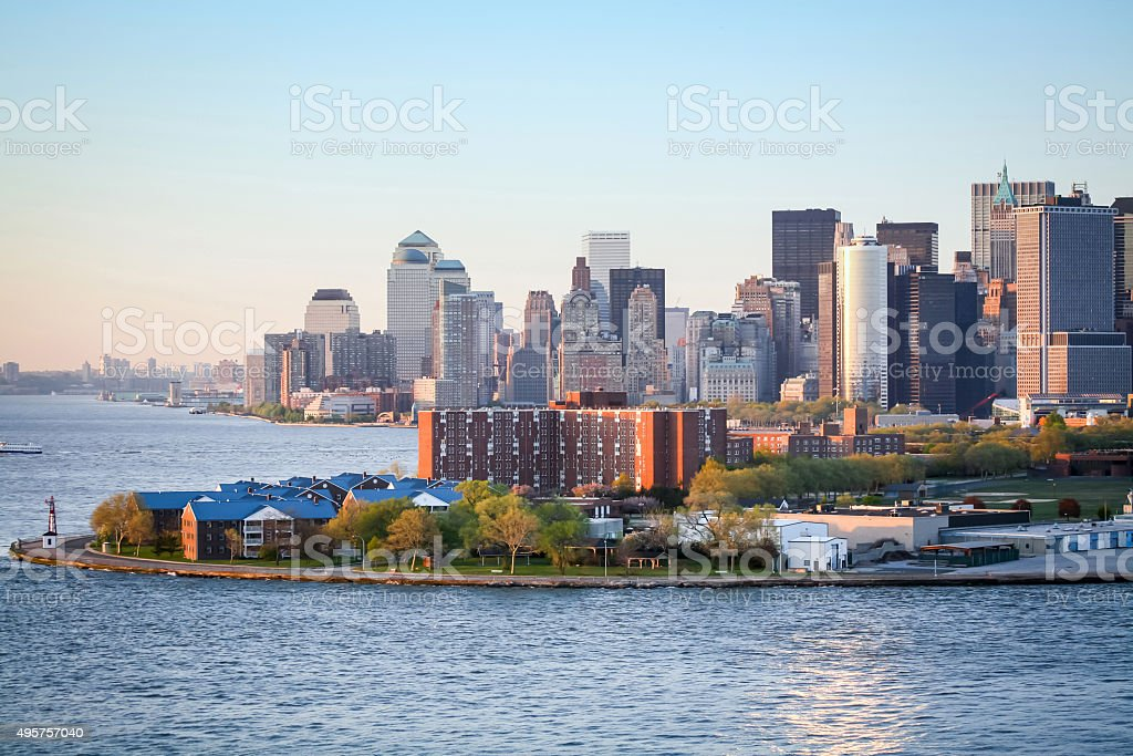 Governors Island in Upper New York Bay stock photo