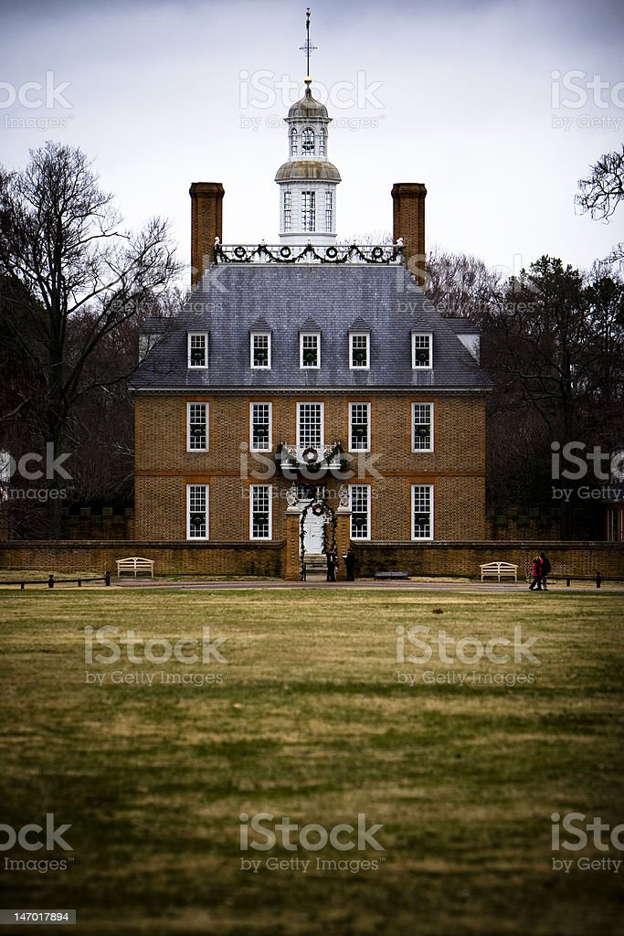 Governor's Mansion in Colonial Williamsburg, VA stock photo
