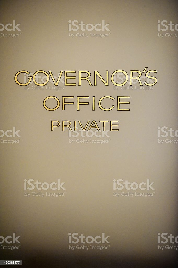 Governor's Office Door Gold Lettering royalty-free stock photo