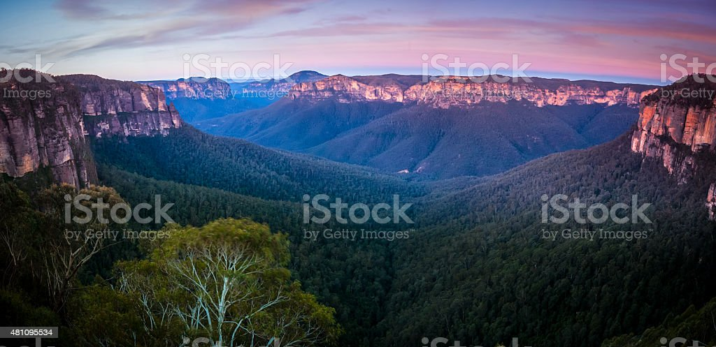 Govetts Leap lookout at Blue mountain, Katoomba stock photo