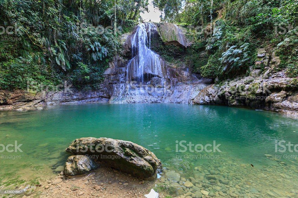 Gozalandia waterfall and swimming hole stock photo
