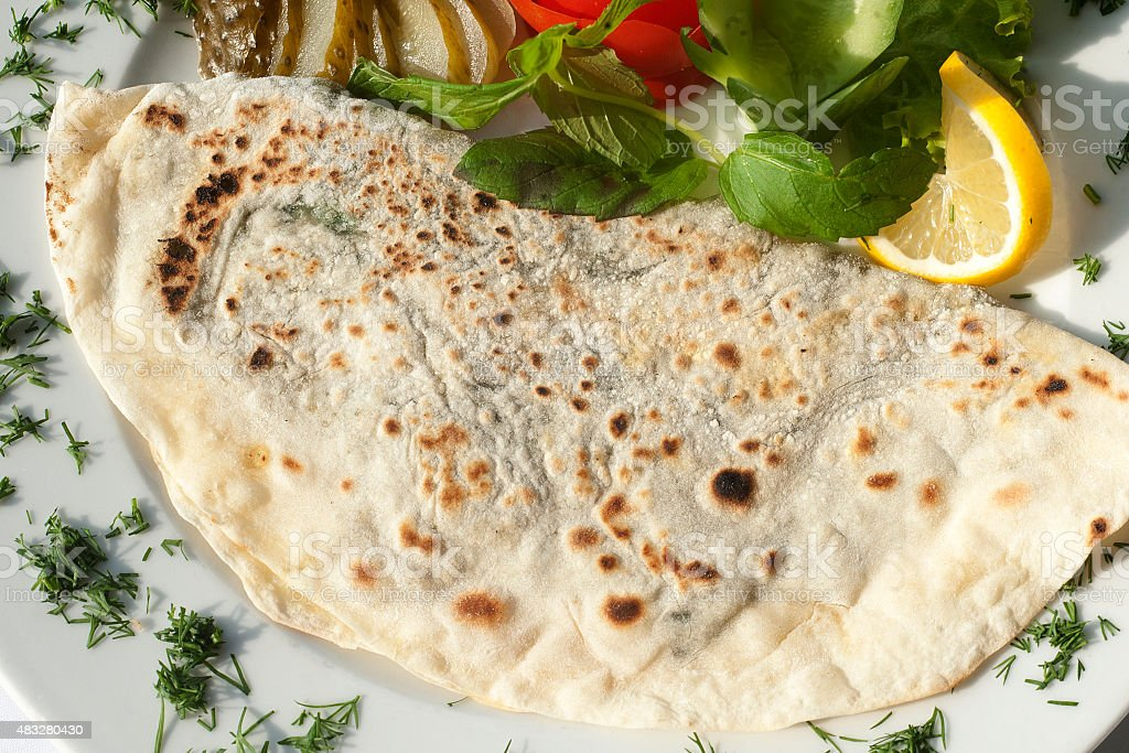 Gozleme traditional Turkish pastries stock photo