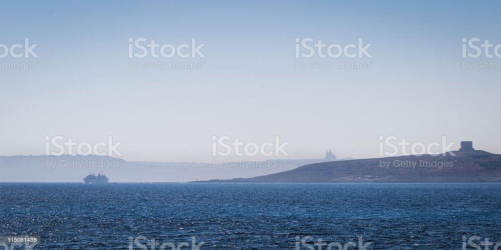 Gozo Channel shrouded in sea mist stock photo