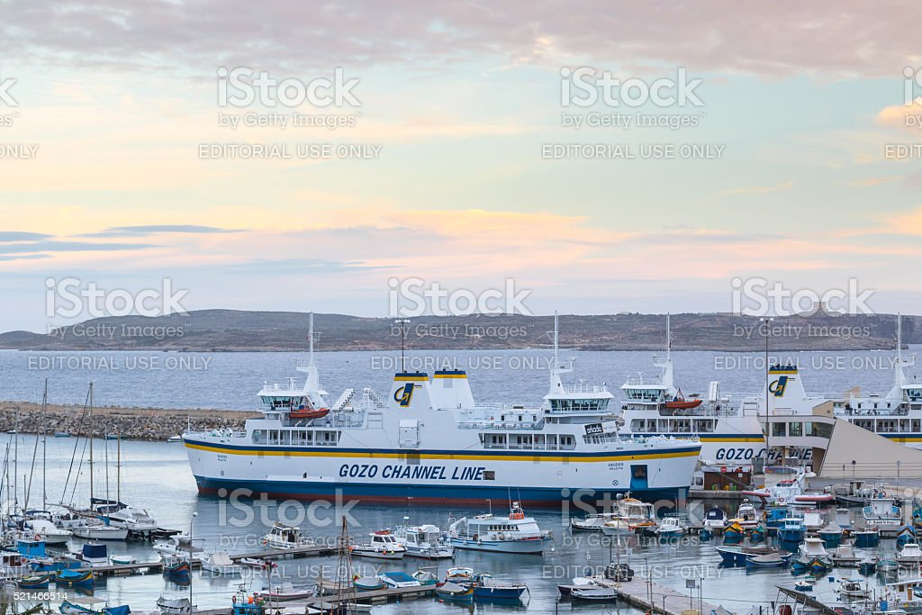 Gozo ferry at Mgarr harbour, Malta stock photo