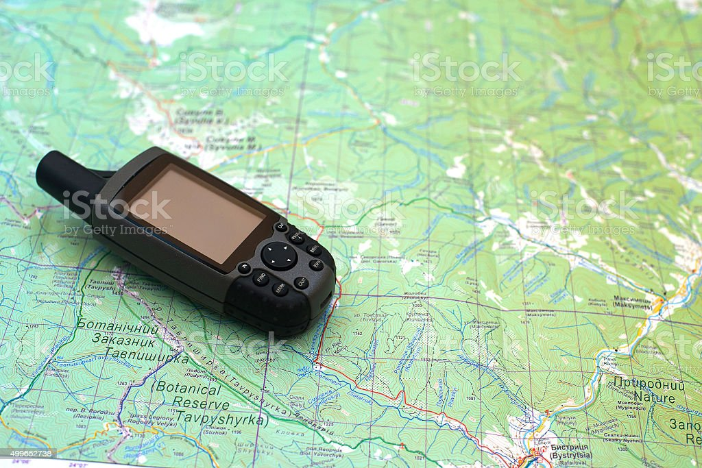 gps on the map stock photo