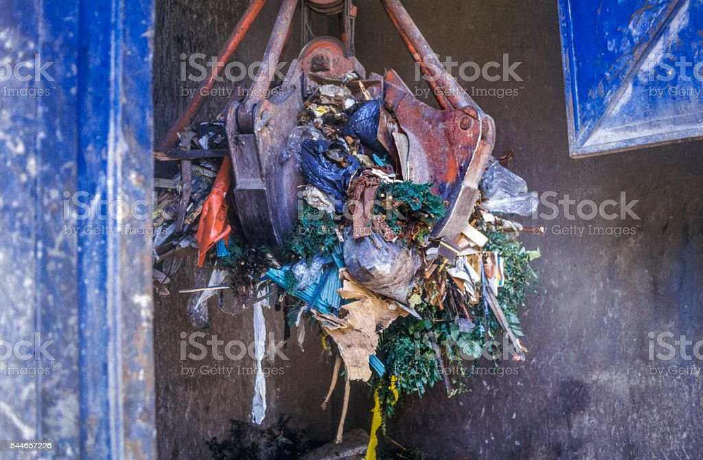 Grab Crane in recycling center stock photo