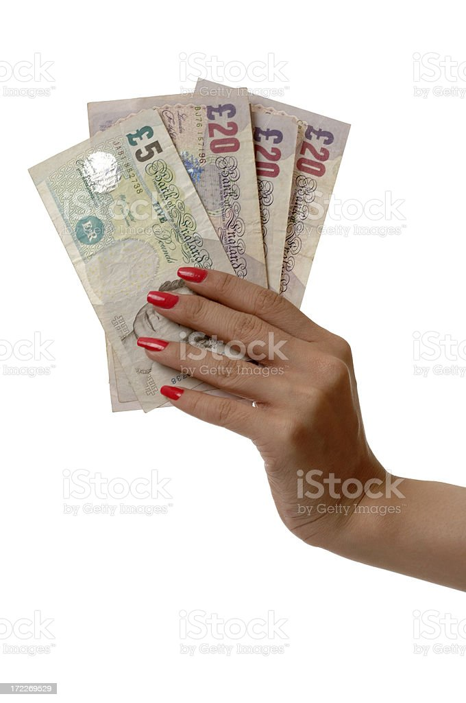 Grab money - British pound royalty-free stock photo