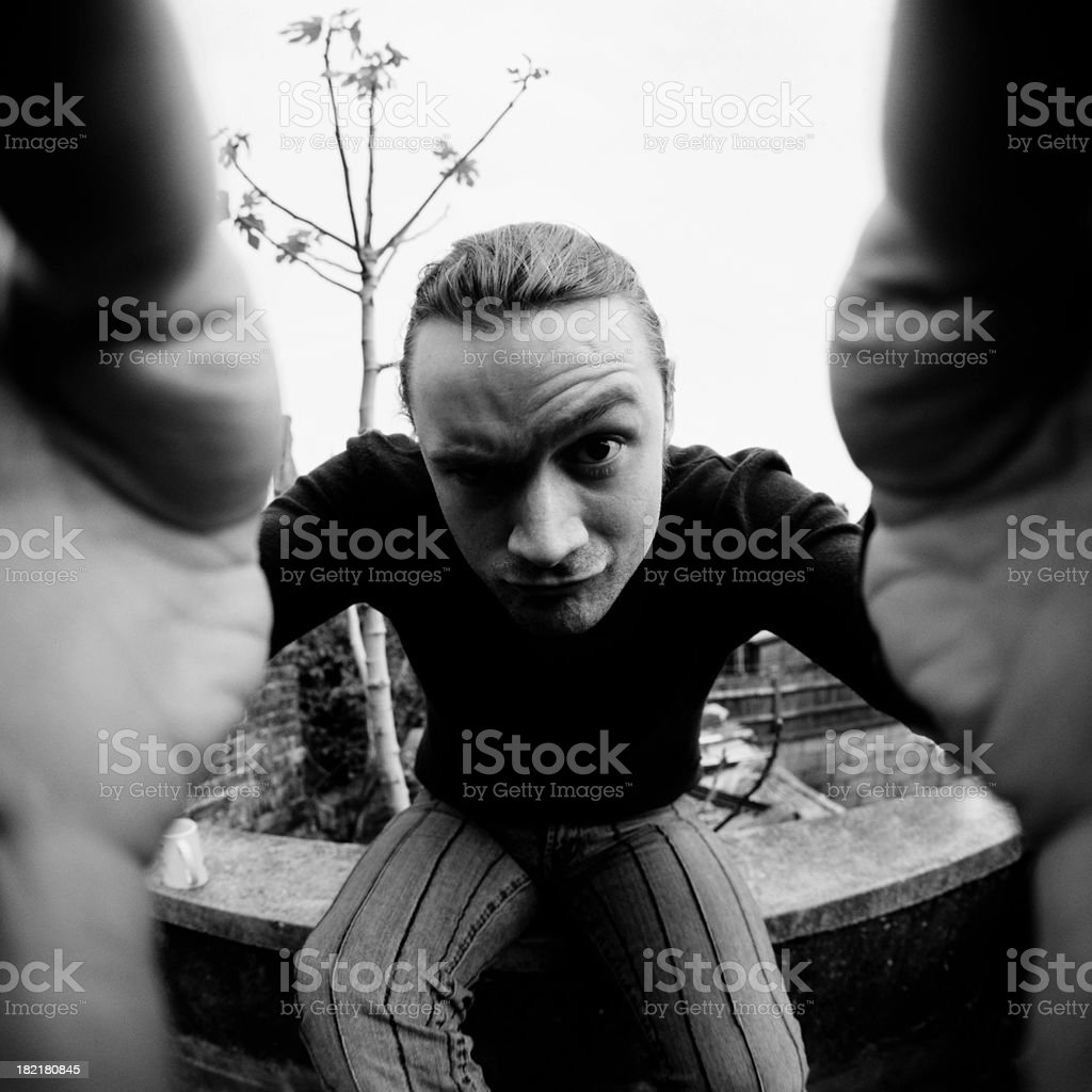 Grab the Lens (bw) royalty-free stock photo