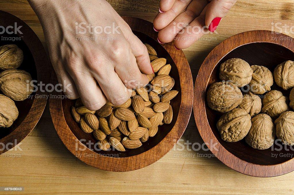Grabbing a healthy snack stock photo