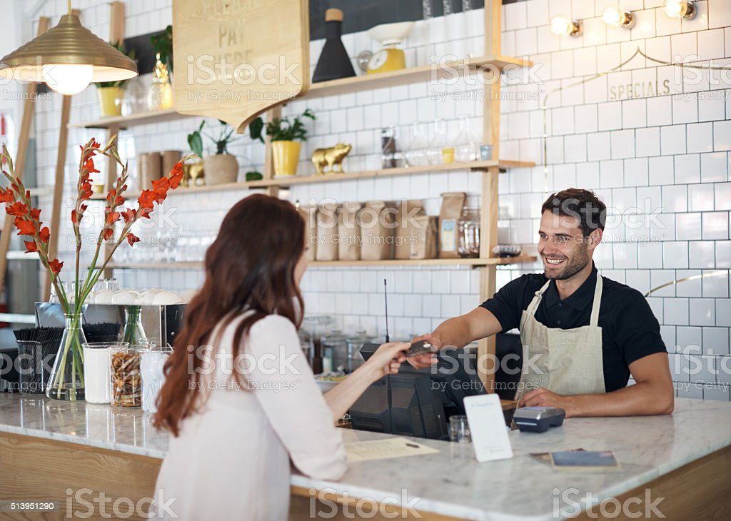 Grabbing a quick morning coffee stock photo