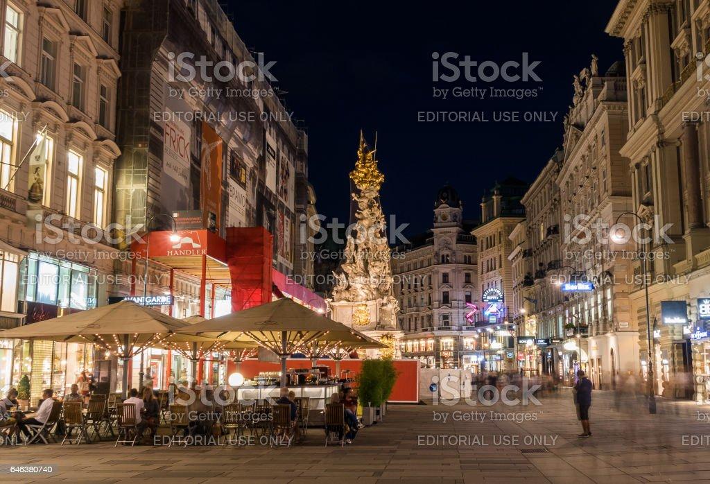 Graben in Vienna at n night stock photo