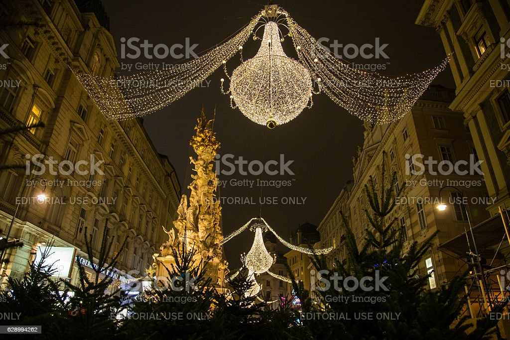 Graben Street in Vienna at Night during the Christmas Season stock photo