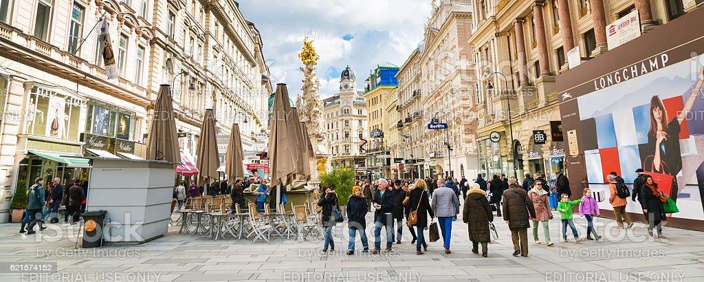 Graben street view and Plague column in Vienna stock photo