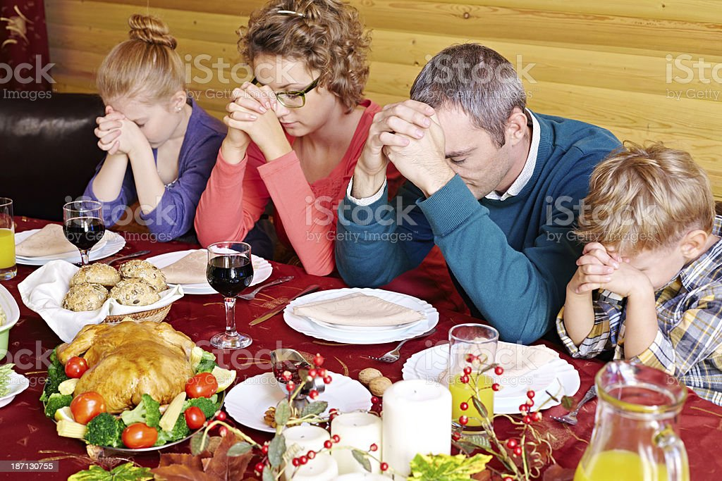 Grace before meal royalty-free stock photo