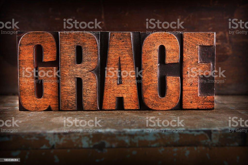 Grace - Letterpress letters royalty-free stock photo