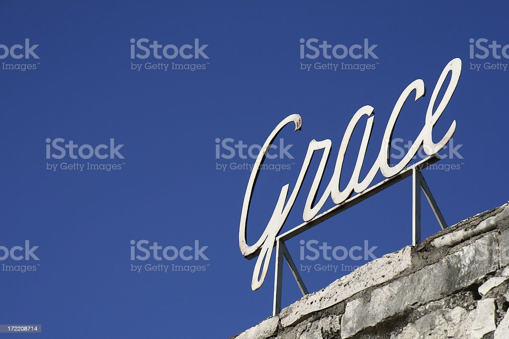 Grace Sign In Front Of Blue Sky royalty-free stock photo