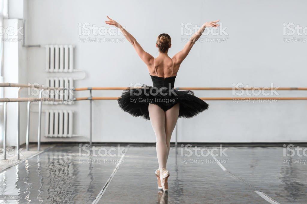 Graceful ballerina dance in ballet class stock photo