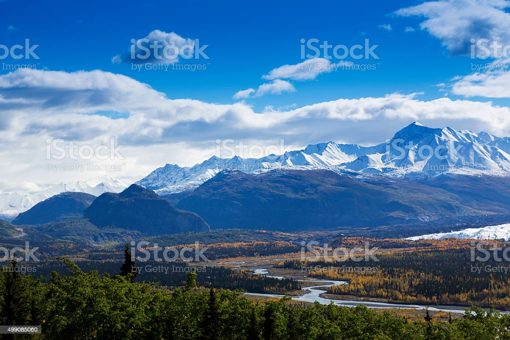 Graceful bends of Matanuska River stock photo