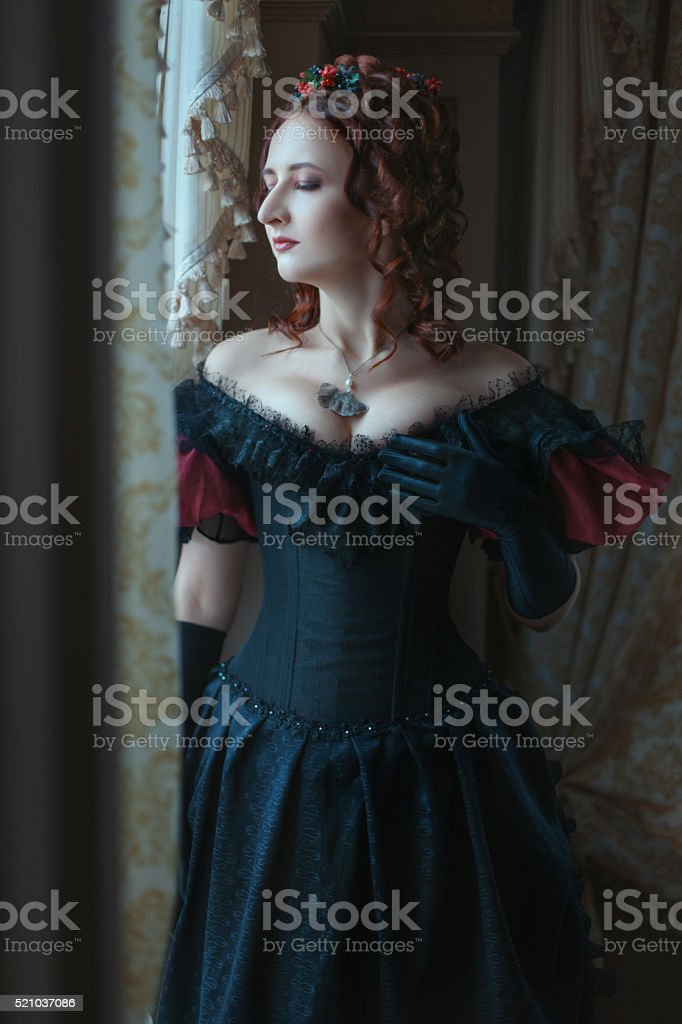 Graceful woman at the window. stock photo