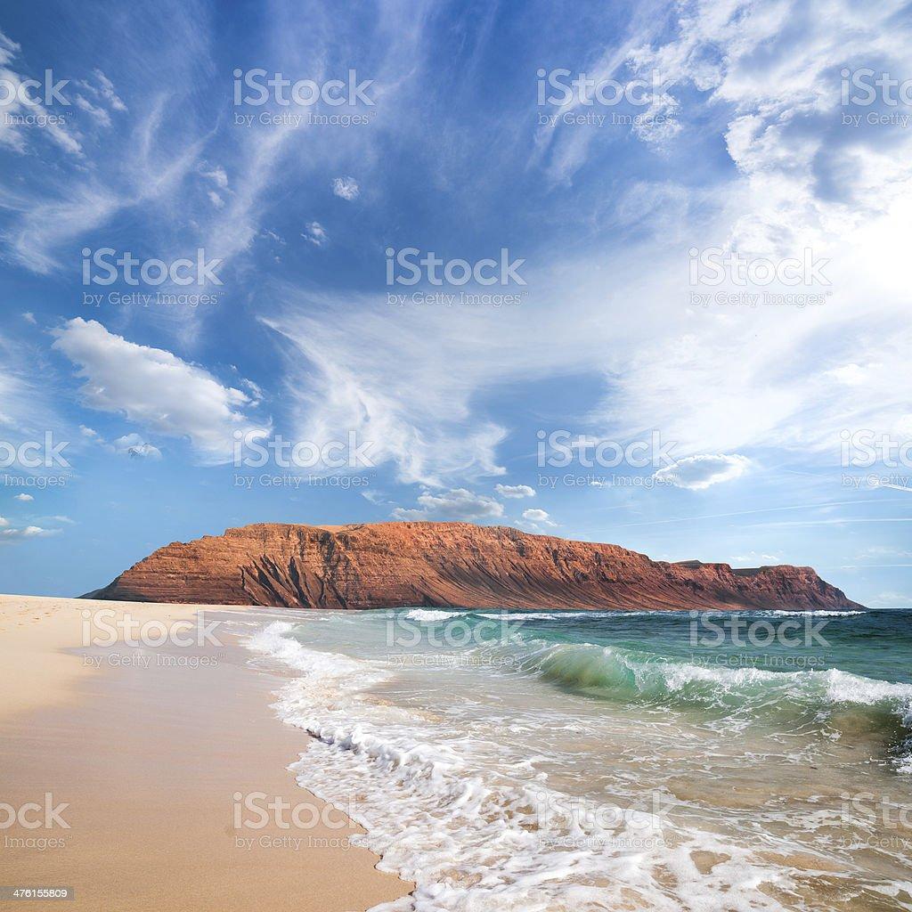 Graciosa and Lanzarote islands stock photo
