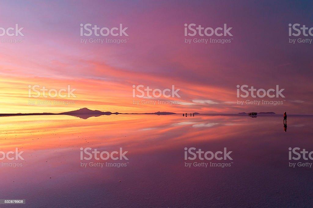 Gradational sunset at Uyuni in Bolivia. 0331259 stock photo