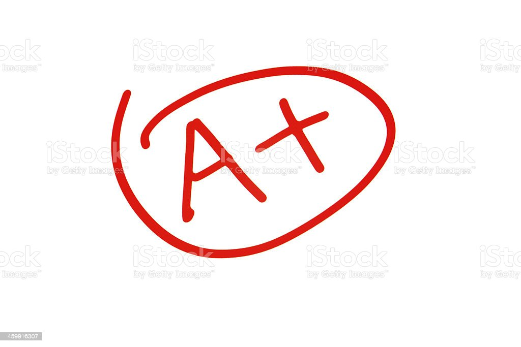 Grade A Plus in Exam stock photo