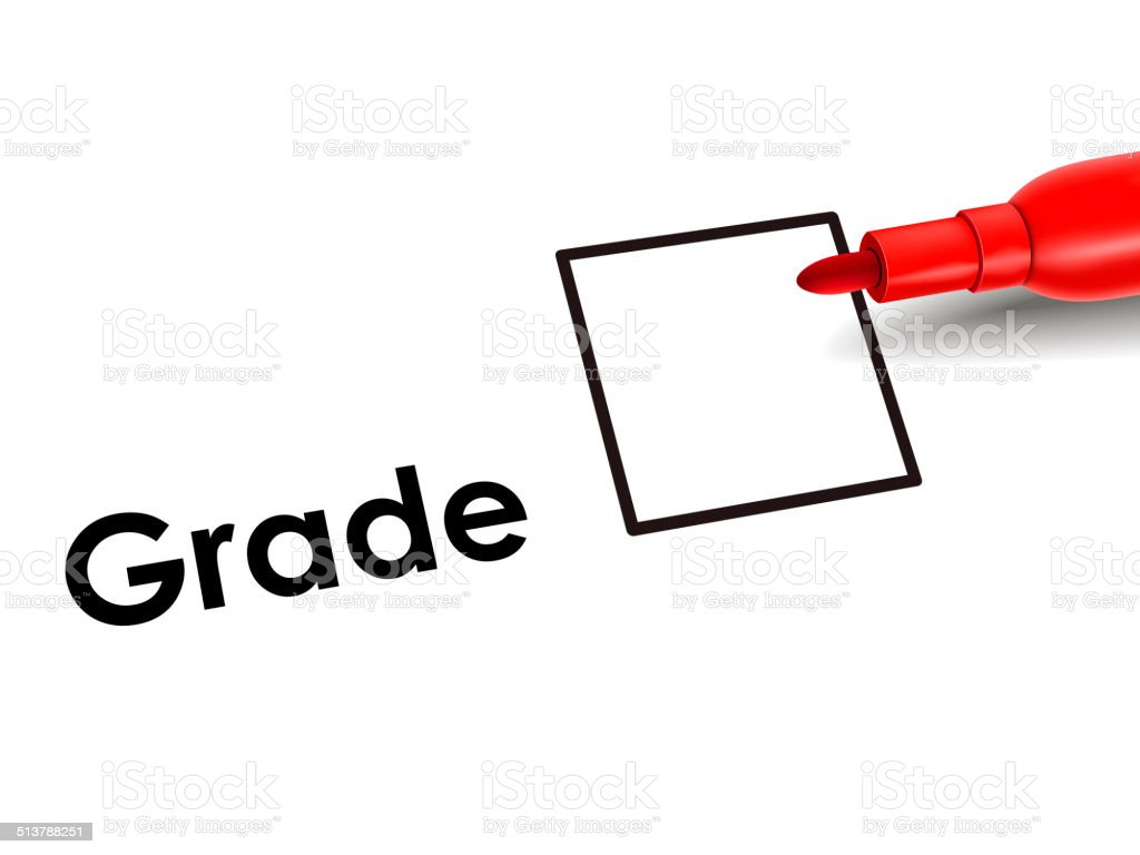 grade box on an exam paper with red pen stock photo