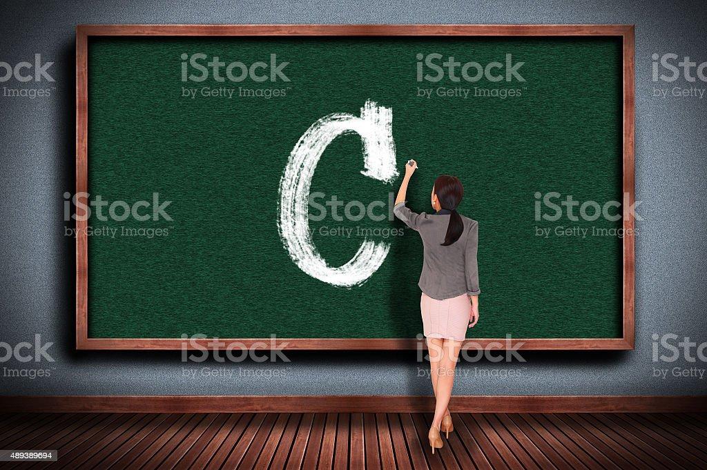 grade c on chalkboard stock photo