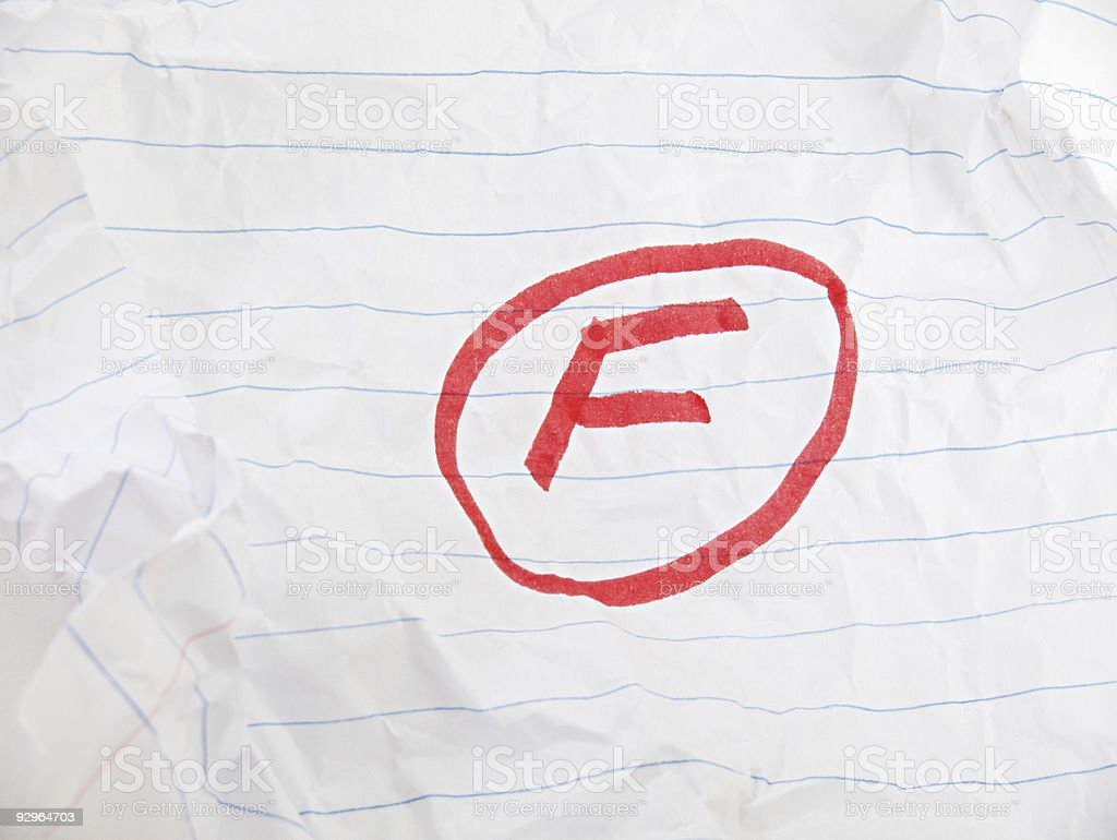 Grade F on Paper stock photo